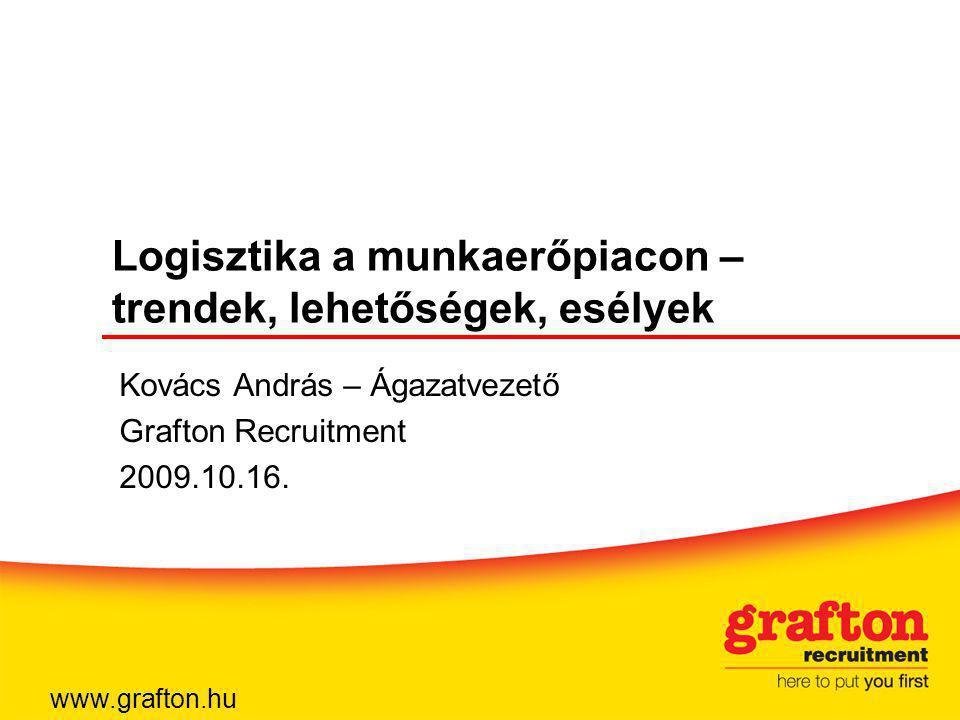 Logisztika a munkaerőpiacon – trendek, lehetőségek, esélyek Kovács András – Ágazatvezető Grafton Recruitment 2009.10.16.