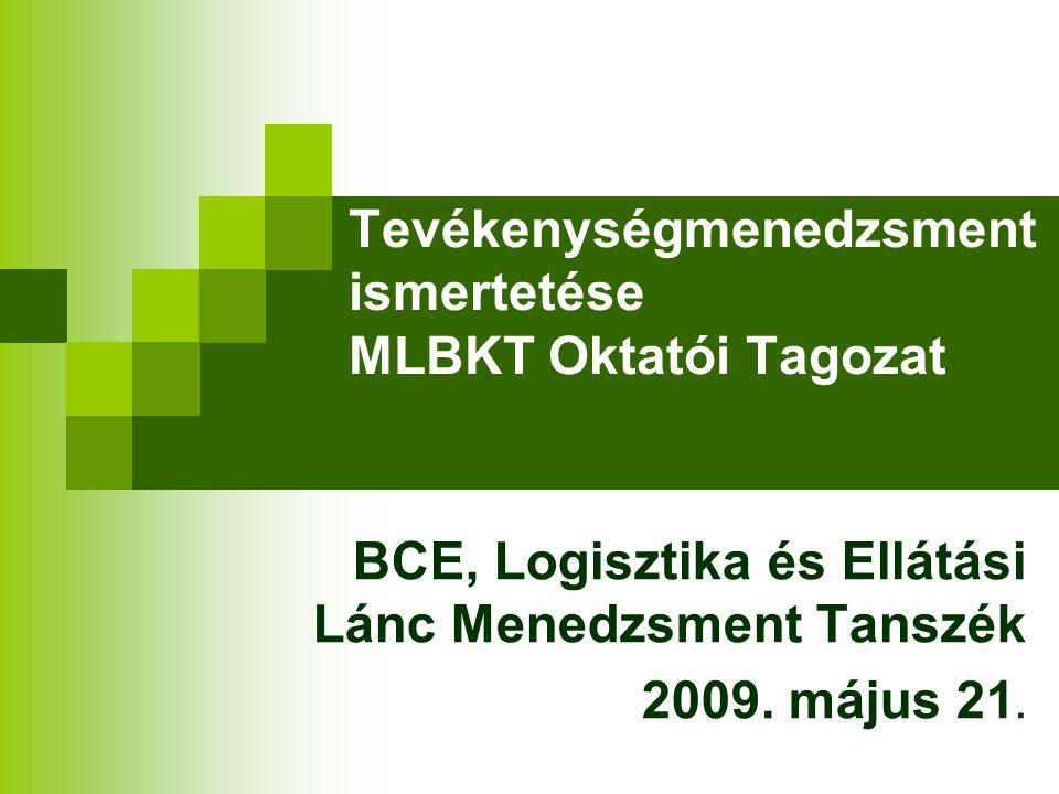 Tevékenységmenedzsment ismertetése MLBKT Oktatói Tagozat BCE, Logisztika és Ellátási Lánc Menedzsment Tanszék 2009.