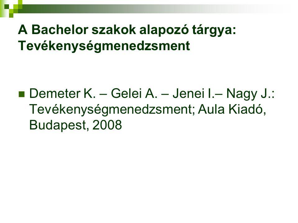 A Bachelor szakok alapozó tárgya: Tevékenységmenedzsment Demeter K. – Gelei A. – Jenei I.– Nagy J.: Tevékenységmenedzsment; Aula Kiadó, Budapest, 2008