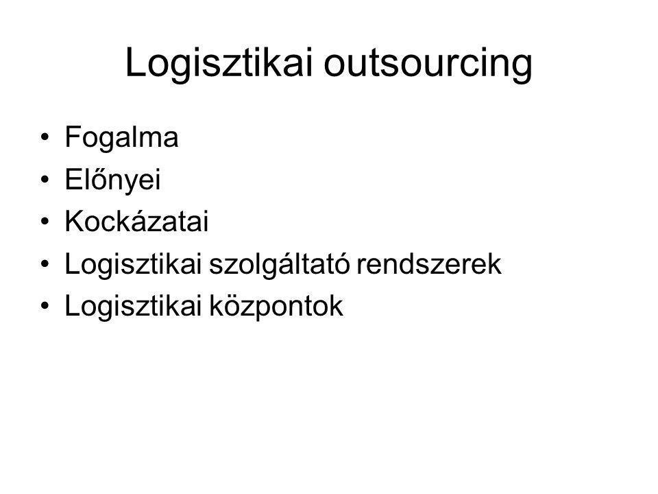 Logisztikai outsourcing Fogalma Előnyei Kockázatai Logisztikai szolgáltató rendszerek Logisztikai központok