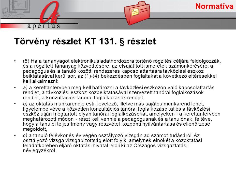 A projekt intézkedései Normatíva Törvény részlet KT 131.