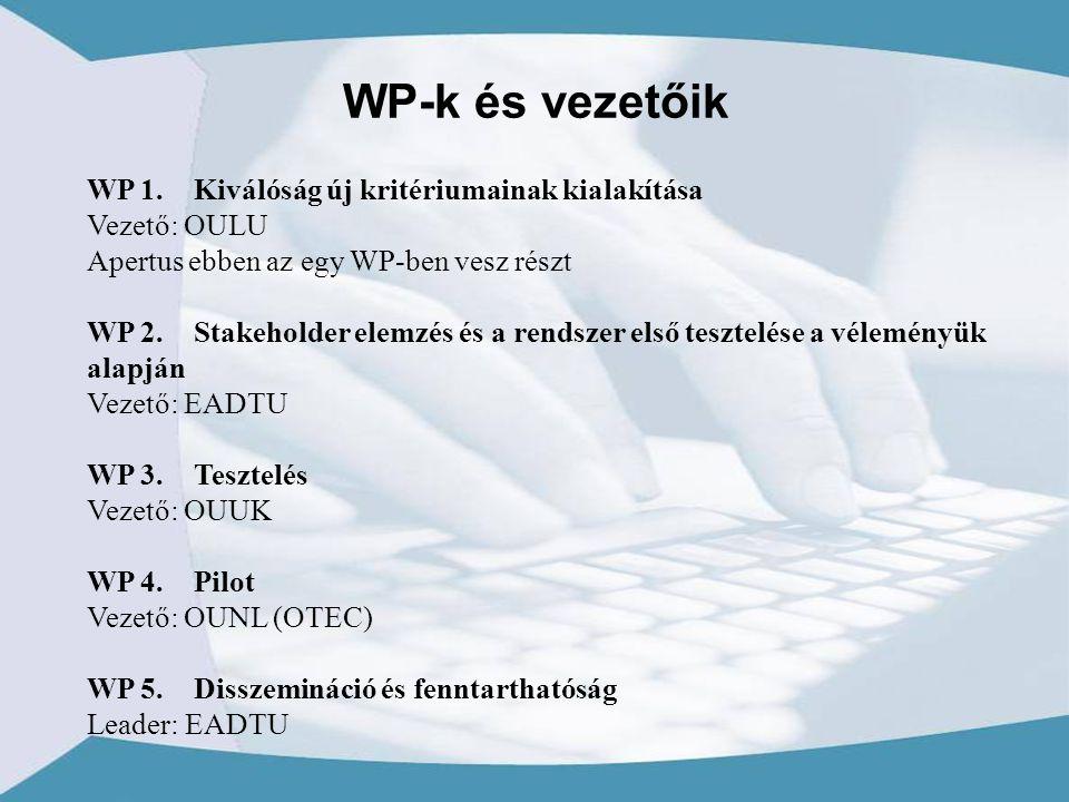 WP 1.Kiválóság új kritériumainak kialakítása Vezető: OULU Apertus ebben az egy WP-ben vesz részt WP 2.Stakeholder elemzés és a rendszer első tesztelése a véleményük alapján Vezető: EADTU WP 3.Tesztelés Vezető: OUUK WP 4.Pilot Vezető: OUNL (OTEC) WP 5.Disszemináció és fenntarthatóság Leader: EADTU WP-k és vezetőik