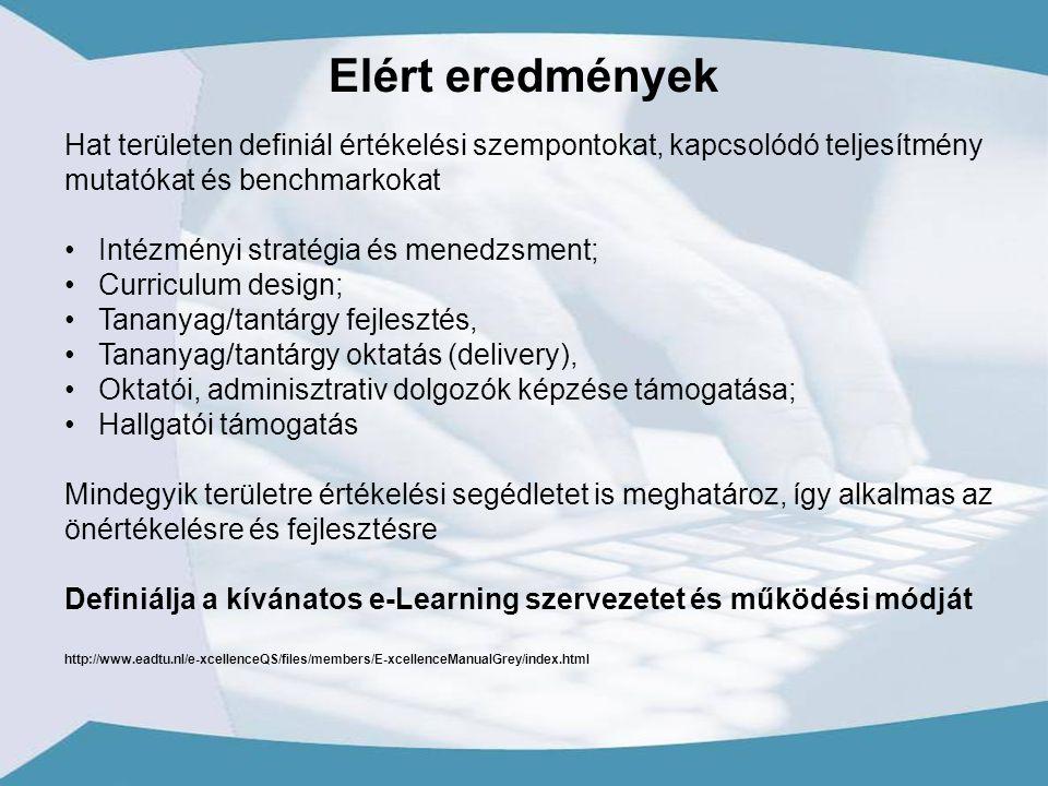 Hat területen definiál értékelési szempontokat, kapcsolódó teljesítmény mutatókat és benchmarkokat Intézményi stratégia és menedzsment; Curriculum design; Tananyag/tantárgy fejlesztés, Tananyag/tantárgy oktatás (delivery), Oktatói, adminisztrativ dolgozók képzése támogatása; Hallgatói támogatás Mindegyik területre értékelési segédletet is meghatároz, így alkalmas az önértékelésre és fejlesztésre Definiálja a kívánatos e-Learning szervezetet és működési módját http://www.eadtu.nl/e-xcellenceQS/files/members/E-xcellenceManualGrey/index.html