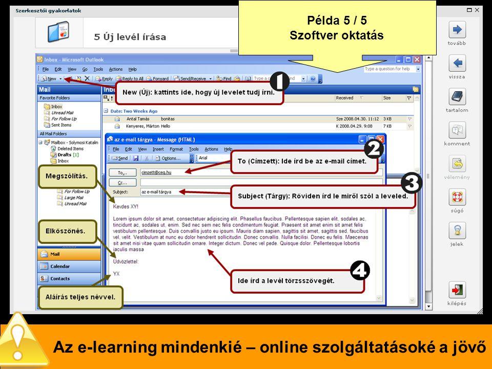 Az e-learning mindenkié – online szolgáltatásoké a jövő Példa 5 / 5 Szoftver oktatás