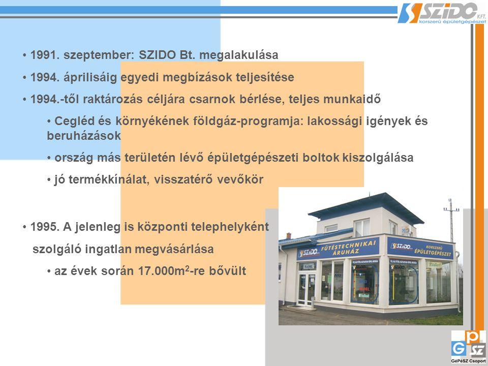 A következő években: termékkínálat szélesítése, vevőkör bővítése A főváros közelsége miatt: 1999.