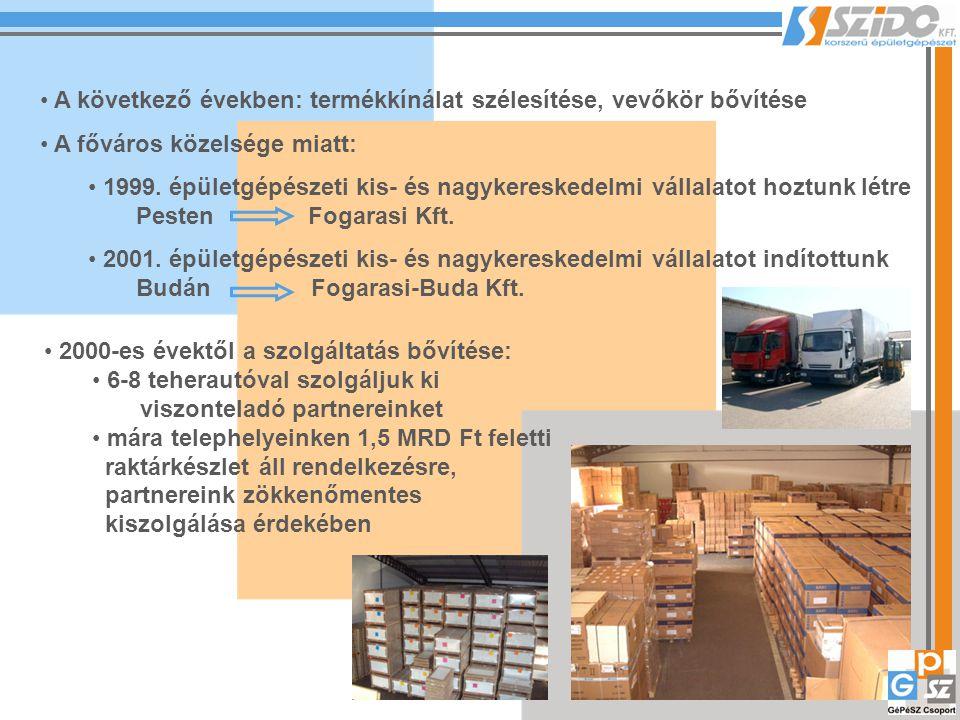 A következő években: termékkínálat szélesítése, vevőkör bővítése A főváros közelsége miatt: 1999. épületgépészeti kis- és nagykereskedelmi vállalatot