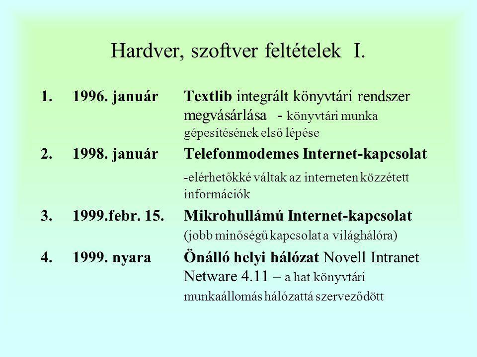 Hardver, szoftver feltételek II.5.1999.