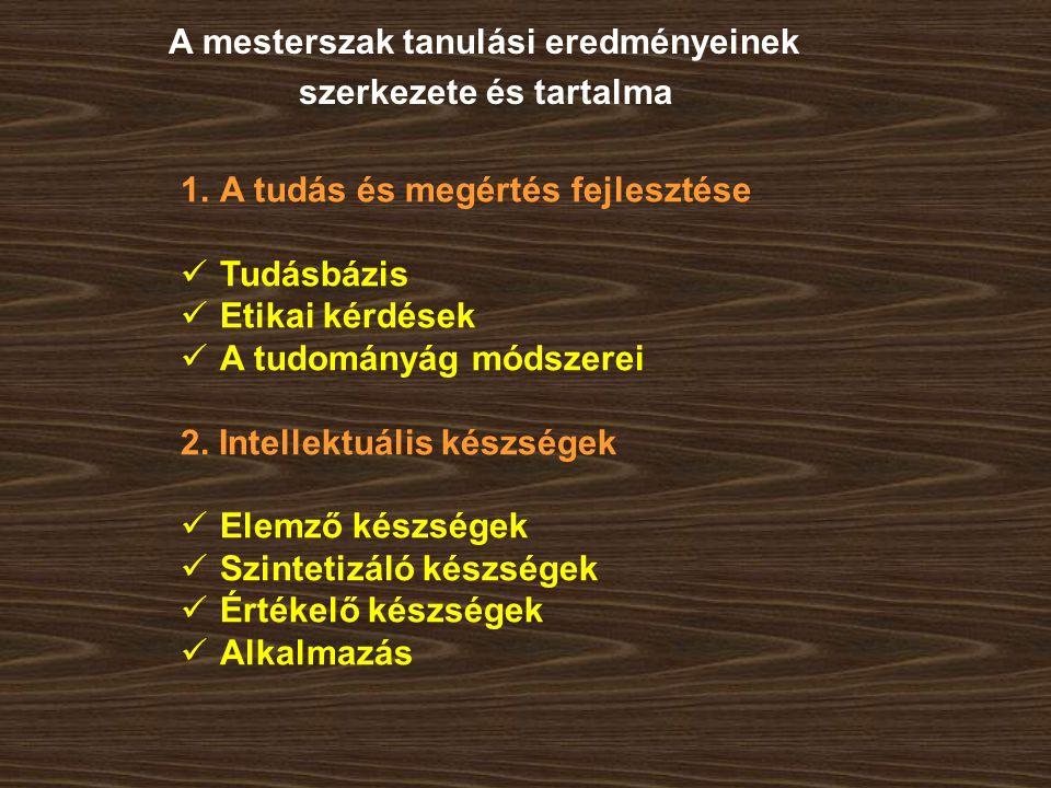 1.A tudás és megértés fejlesztése Tudásbázis Etikai kérdések A tudományág módszerei 2. Intellektuális készségek Elemző készségek Szintetizáló készsége