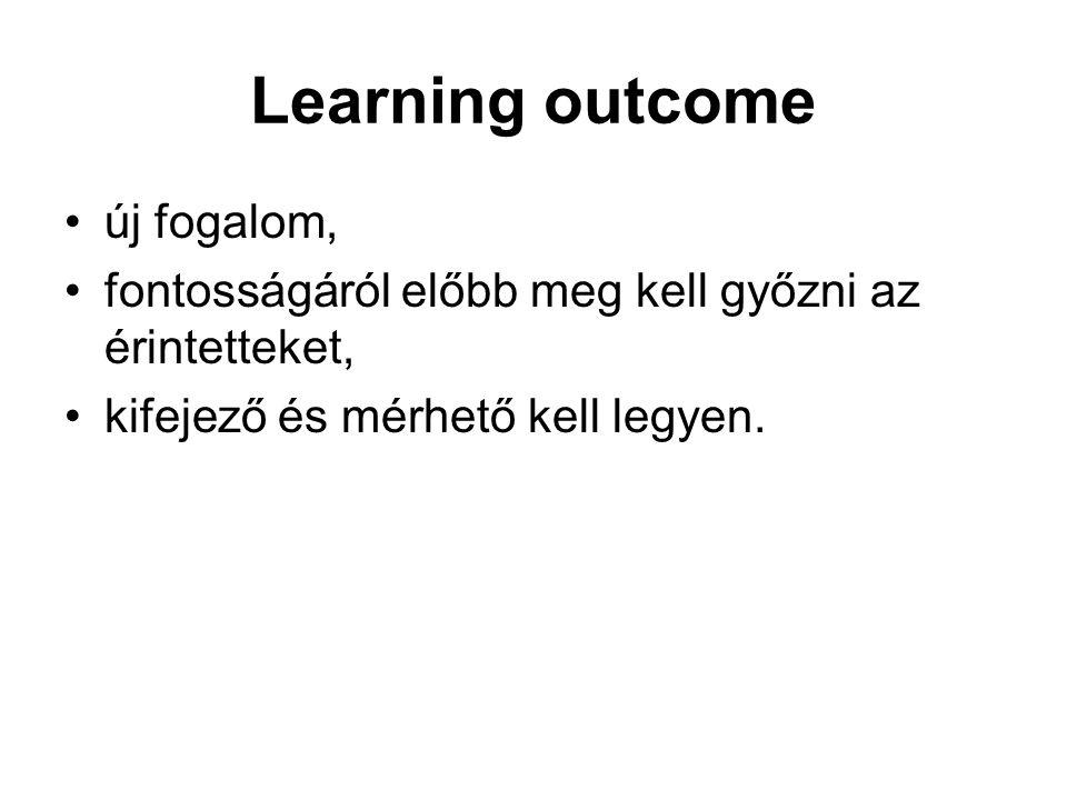 Learning outcome új fogalom, fontosságáról előbb meg kell győzni az érintetteket, kifejező és mérhető kell legyen.