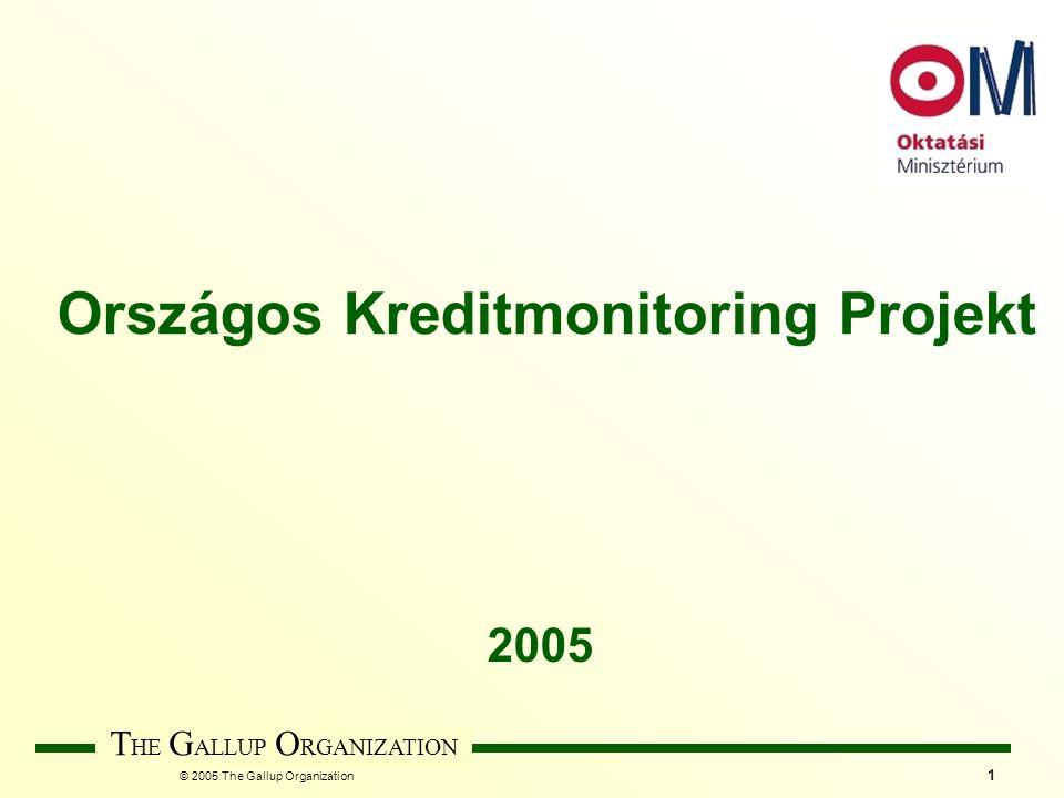 © 2005 The Gallup Organization T HE G ALLUP O RGANIZATION 2 HALLGATÓK Eredmények értelmezéséne k szintje INTÉZMÉNY Adatok típusa KAR KREDIT- RENDSZERREL KAPCSOLATOS VÉLEMÉNYEK KREDIT- RENDSZERREL KAPCSOLATOS STATISZTIKAI ADATOK Adatforrások, megkérdezette k köre INTÉZMÉNY OKTATÓK TANULMÁNYI OSZTÁLY Adatgyűjtés módja SZEMÉLYES PAPÍR ALAPÚ ÖNKITÖLTŐS WEB ALAPÚ ÖNKITÖLTŐS SZEMÉLYES PAPÍR ALAPÚ ÖNKITÖLTŐS WEB ALAPÚ ÖNKITÖLTŐS INTÉZMÉNY KAR SZAK/TUDOMÁNYÁG INTÉZMÉNY KAR Adatgyűjtés gyakorisága ÉVENTE Minta választás módja MINTA ALAPÚ CENZUS ALAPÚ A KREDIT MONITOR JELENLEGI FELÉPÍTÉSE MINTA ALAPÚ CENZUS ALAPÚ MINTA ALAPÚ CENZUS ALAPÚ OPCIÓ MEGVALÓSULT VÁLTOZAT Időpontja: 2005 május Minta: 31 állami felsőoktatási intézmény 665 oktató (312 fő résztvevő , 186 kreditfelelős) 1500 nappali tagozatos, kredittanterves hallgató 31 karon egy kiválasztott Tanulmányi osztály előadó + Tanulmányi Osztály vezető
