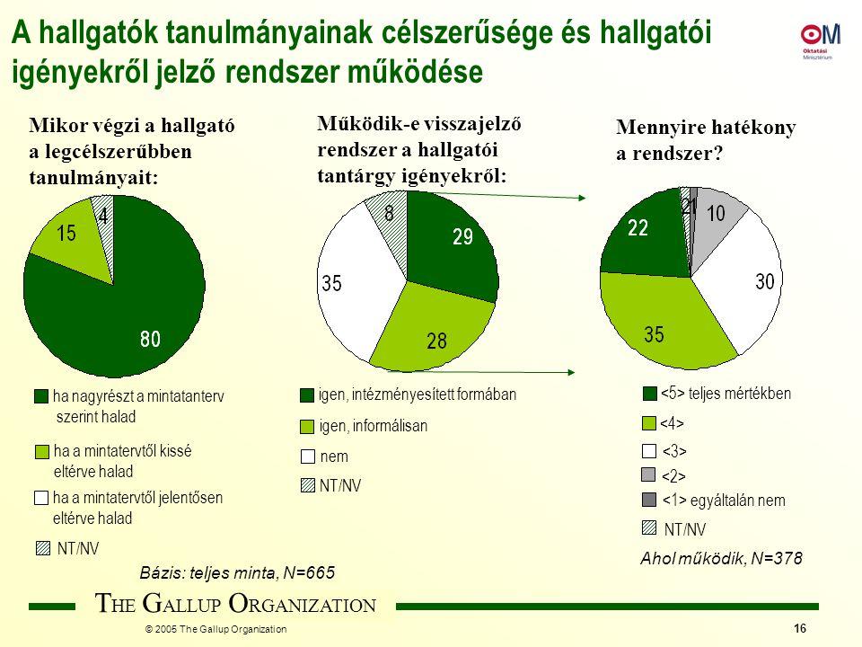 T HE G ALLUP O RGANIZATION © 2005 The Gallup Organization 16 Mikor végzi a hallgató a legcélszerűbben tanulmányait: A hallgatók tanulmányainak célszer