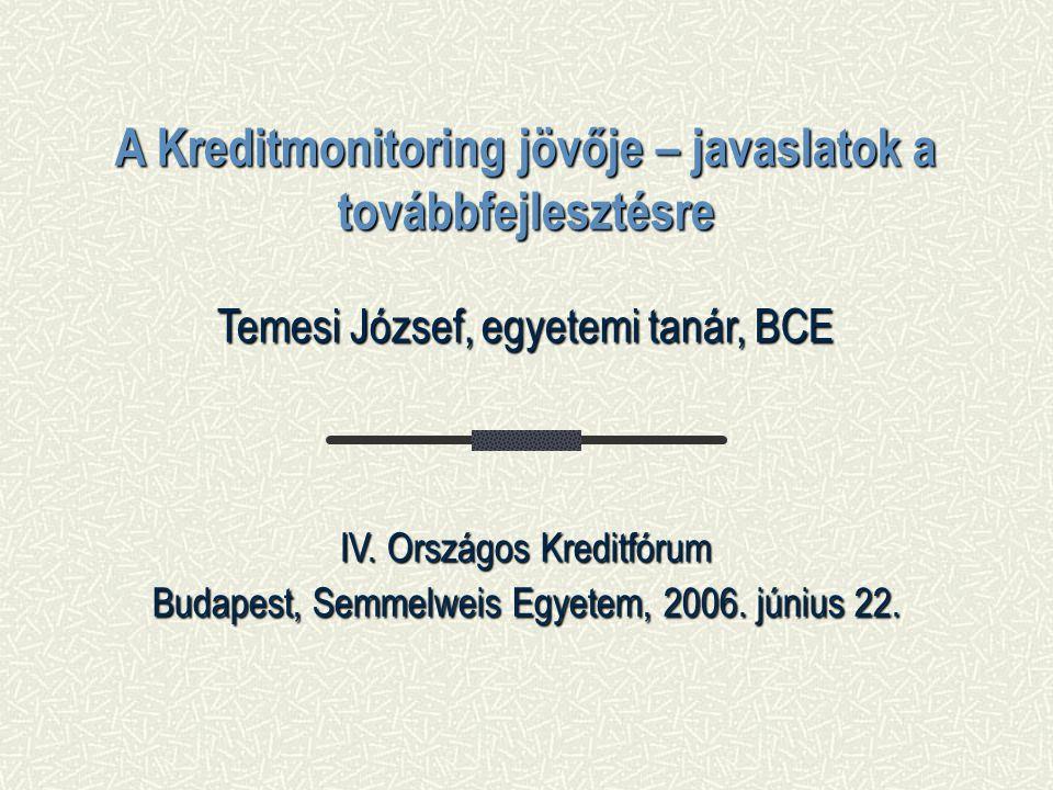 A Kreditmonitoring jövője – javaslatok a továbbfejlesztésre Temesi József, egyetemi tanár, BCE IV.