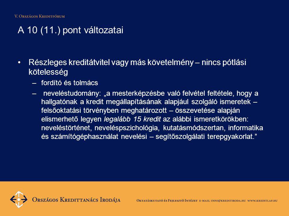 """A 10 (11.) pont változatai Részleges kreditátvitel vagy más követelmény – nincs pótlási kötelesség –fordító és tolmács – neveléstudomány: """"a mesterképzésbe való felvétel feltétele, hogy a hallgatónak a kredit megállapításának alapjául szolgáló ismeretek – felsőoktatási törvényben meghatározott – összevetése alapján elismerhető legyen legalább 15 kredit az alábbi ismeretkörökben: neveléstörténet, neveléspszichológia, kutatásmódszertan, informatika és számítógéphasználat nevelési – segítőszolgálati terepgyakorlat."""