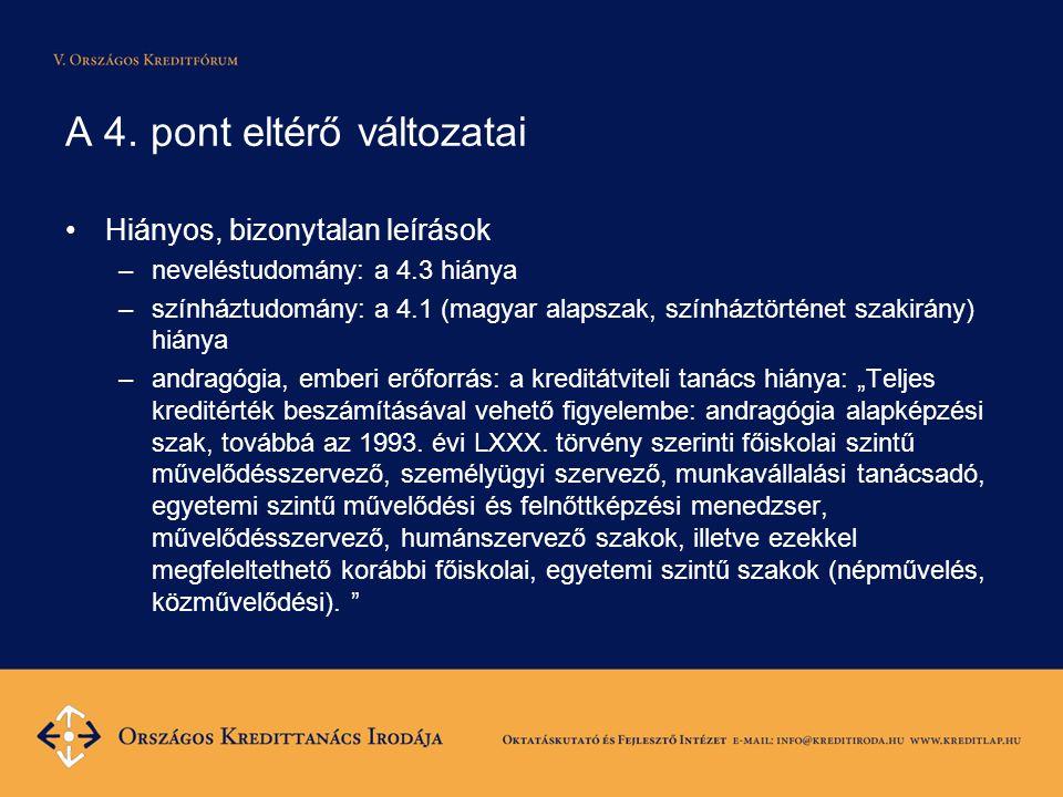 A 4. pont eltérő változatai Hiányos, bizonytalan leírások –neveléstudomány: a 4.3 hiánya –színháztudomány: a 4.1 (magyar alapszak, színháztörténet sza