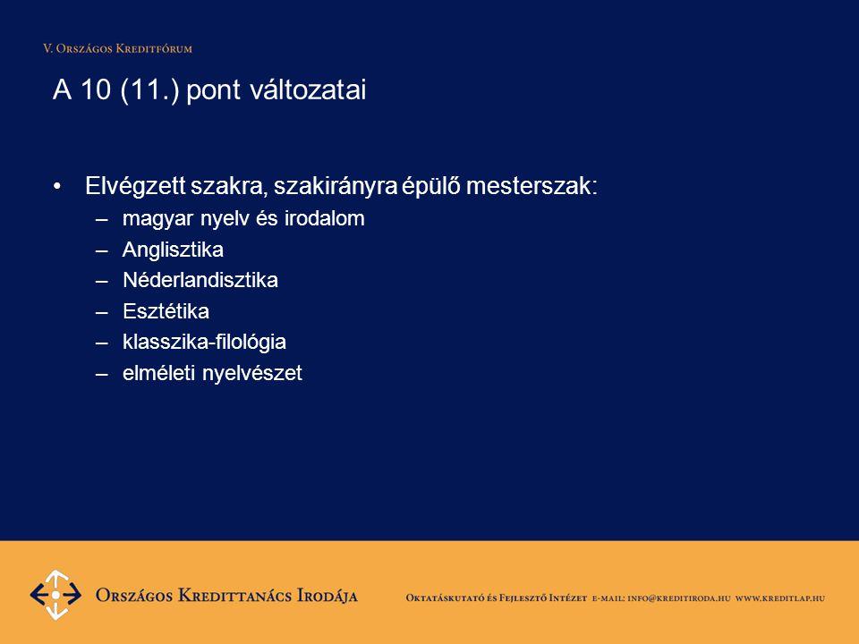 A 10 (11.) pont változatai Elvégzett szakra, szakirányra épülő mesterszak: –magyar nyelv és irodalom –Anglisztika –Néderlandisztika –Esztétika –klasszika-filológia –elméleti nyelvészet