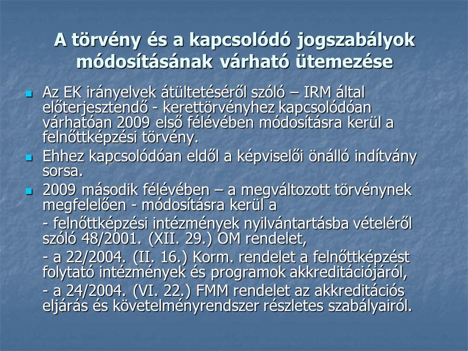 A törvény és a kapcsolódó jogszabályok módosításának várható ütemezése Az EK irányelvek átültetéséről szóló – IRM által előterjesztendő - kerettörvényhez kapcsolódóan várhatóan 2009 első félévében módosításra kerül a felnőttképzési törvény.