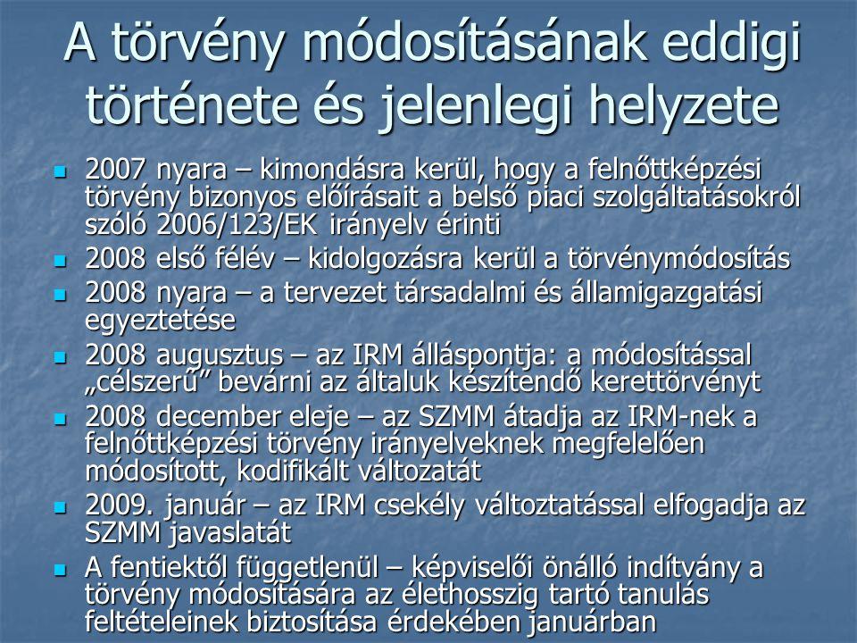 """A törvény módosításának eddigi története és jelenlegi helyzete 2007 nyara – kimondásra kerül, hogy a felnőttképzési törvény bizonyos előírásait a belső piaci szolgáltatásokról szóló 2006/123/EK irányelv érinti 2007 nyara – kimondásra kerül, hogy a felnőttképzési törvény bizonyos előírásait a belső piaci szolgáltatásokról szóló 2006/123/EK irányelv érinti 2008 első félév – kidolgozásra kerül a törvénymódosítás 2008 első félév – kidolgozásra kerül a törvénymódosítás 2008 nyara – a tervezet társadalmi és államigazgatási egyeztetése 2008 nyara – a tervezet társadalmi és államigazgatási egyeztetése 2008 augusztus – az IRM álláspontja: a módosítással """"célszerű bevárni az általuk készítendő kerettörvényt 2008 augusztus – az IRM álláspontja: a módosítással """"célszerű bevárni az általuk készítendő kerettörvényt 2008 december eleje – az SZMM átadja az IRM-nek a felnőttképzési törvény irányelveknek megfelelően módosított, kodifikált változatát 2008 december eleje – az SZMM átadja az IRM-nek a felnőttképzési törvény irányelveknek megfelelően módosított, kodifikált változatát 2009."""