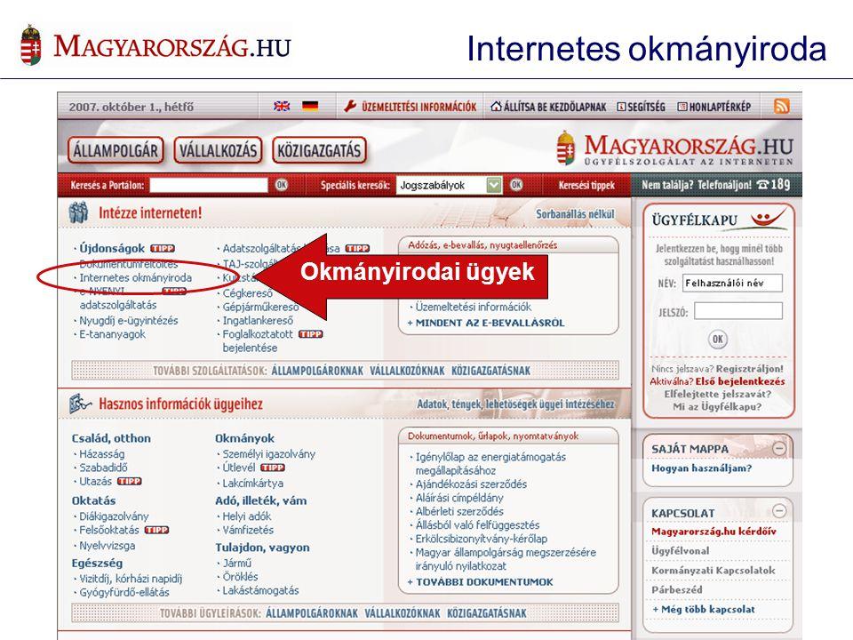 Okmányirodai ügyek Internetes okmányiroda