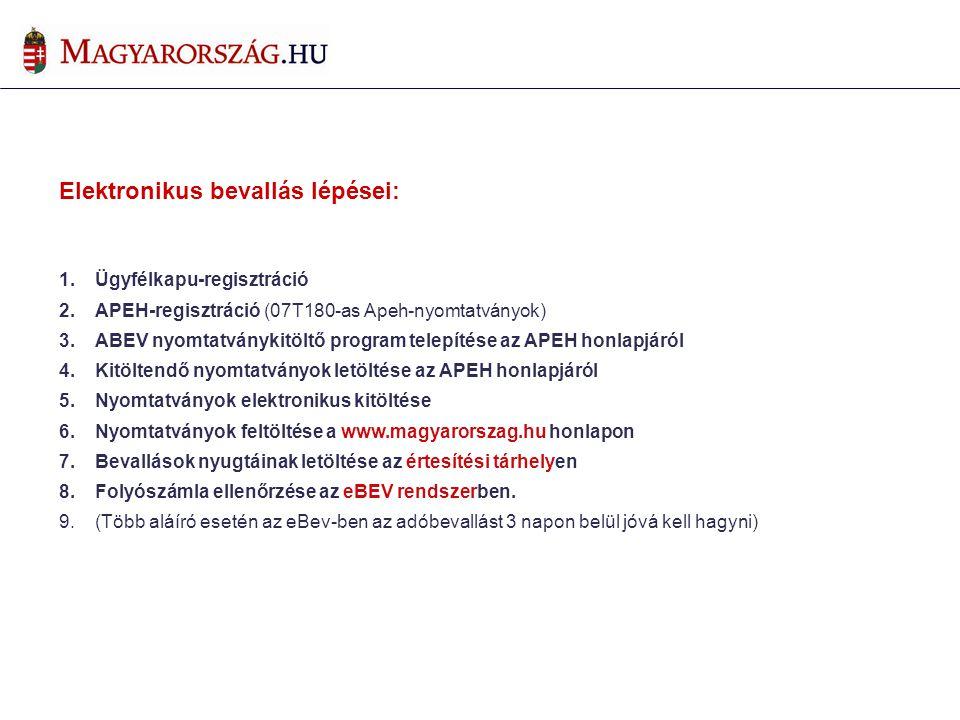 Elektronikus bevallás lépései: 1.Ügyfélkapu-regisztráció 2.APEH-regisztráció (07T180-as Apeh-nyomtatványok) 3.ABEV nyomtatványkitöltő program telepíté