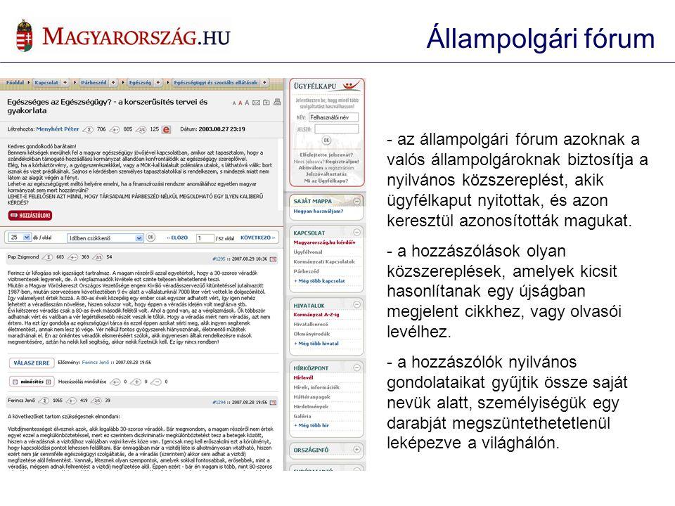 - az állampolgári fórum azoknak a valós állampolgároknak biztosítja a nyilvános közszereplést, akik ügyfélkaput nyitottak, és azon keresztül azonosíto