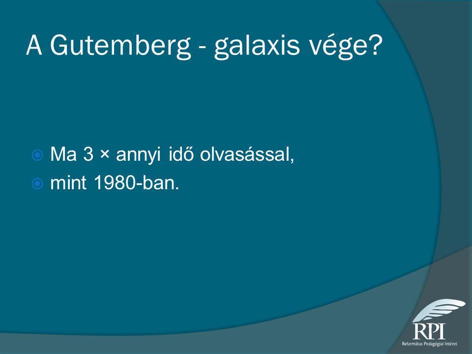 A Gutemberg - galaxis vége?  Ma 3 × annyi idő olvasással,  mint 1980-ban.