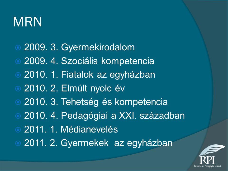 MRN  2009. 3. Gyermekirodalom  2009. 4. Szociális kompetencia  2010. 1. Fiatalok az egyházban  2010. 2. Elmúlt nyolc év  2010. 3. Tehetség és kom