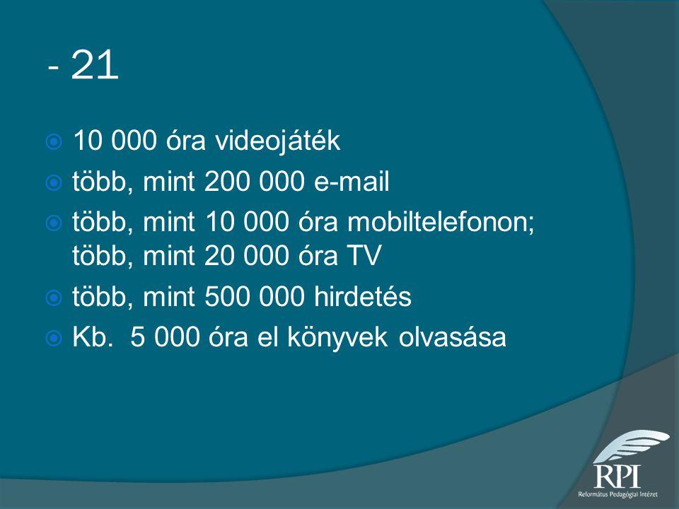 - 21  10 000 óra videojáték  több, mint 200 000 e-mail  több, mint 10 000 óra mobiltelefonon; több, mint 20 000 óra TV  több, mint 500 000 hirdeté