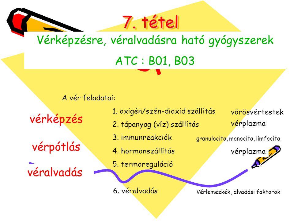 7.tétel Vérképzésre, véralvadásra ható gyógyszerek ATC : B01, B03 A vér feladatai: 1.