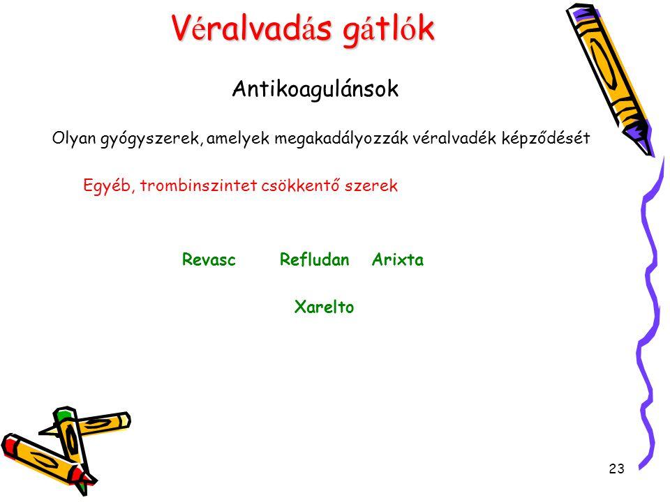 23 V é ralvad á s g á tl ó k Antikoagulánsok Olyan gyógyszerek, amelyek megakadályozzák véralvadék képződését Egyéb, trombinszintet csökkentő szerek Revasc Refludan Arixta Xarelto