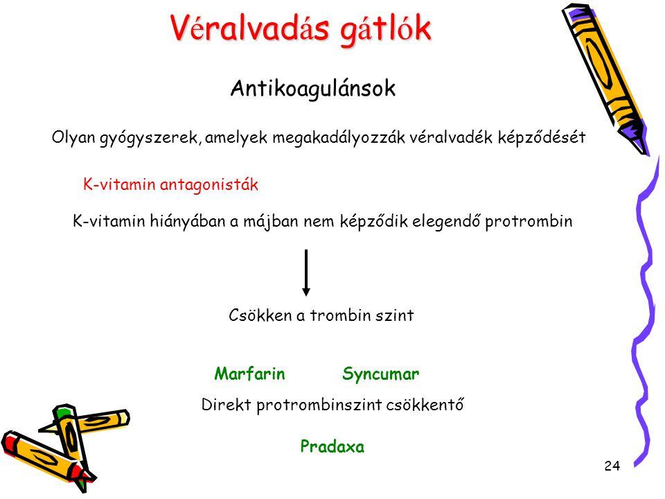 24 V é ralvad á s g á tl ó k Antikoagulánsok Olyan gyógyszerek, amelyek megakadályozzák véralvadék képződését K-vitamin antagonisták K-vitamin hiányában a májban nem képződik elegendő protrombin Csökken a trombin szint Marfarin Syncumar Direkt protrombinszint csökkentő Pradaxa