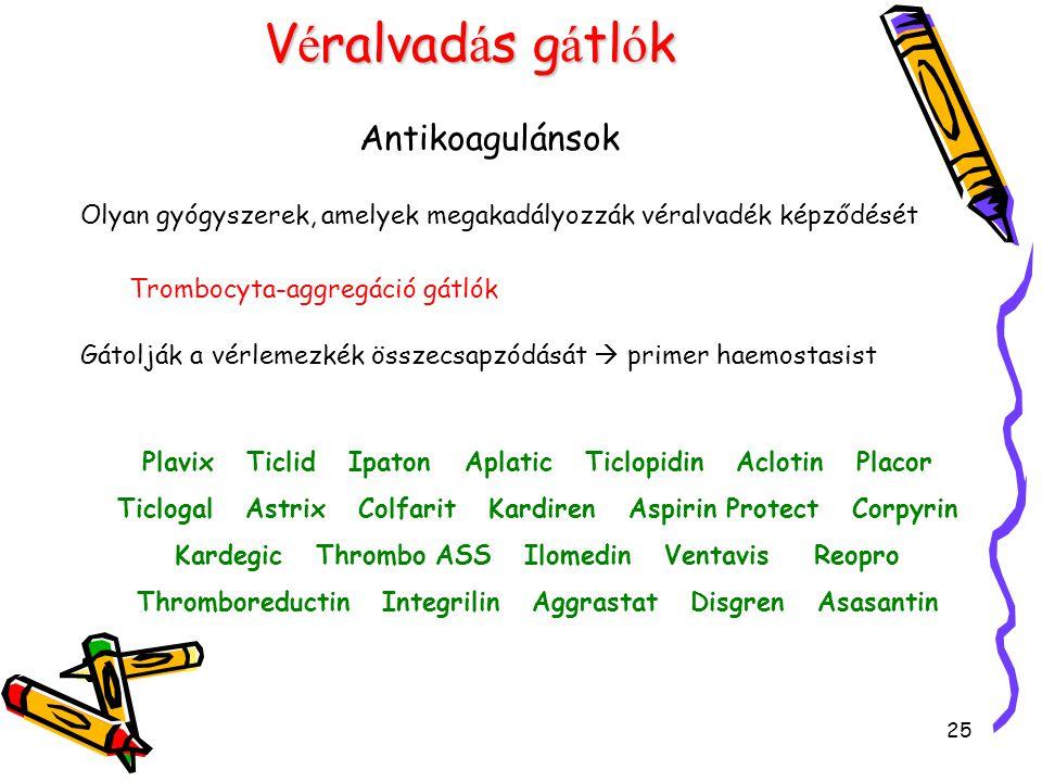25 V é ralvad á s g á tl ó k Antikoagulánsok Olyan gyógyszerek, amelyek megakadályozzák véralvadék képződését Trombocyta-aggregáció gátlók Gátolják a vérlemezkék összecsapzódását  primer haemostasist Plavix Ticlid Ipaton Aplatic Ticlopidin Aclotin Placor Ticlogal Astrix Colfarit Kardiren Aspirin Protect Corpyrin Kardegic Thrombo ASS Ilomedin Ventavis Reopro Thromboreductin Integrilin Aggrastat Disgren Asasantin