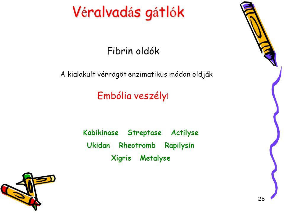 26 V é ralvad á s g á tl ó k Fibrin oldók A kialakult vérrögöt enzimatikus módon oldják Embólia veszély .