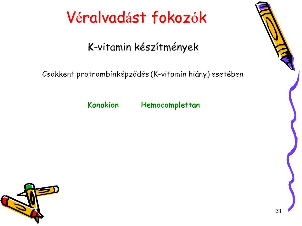 31 V é ralvad á st fokoz ó k K-vitamin készítmények Csökkent protrombinképződés (K-vitamin hiány) esetében Konakion Hemocomplettan
