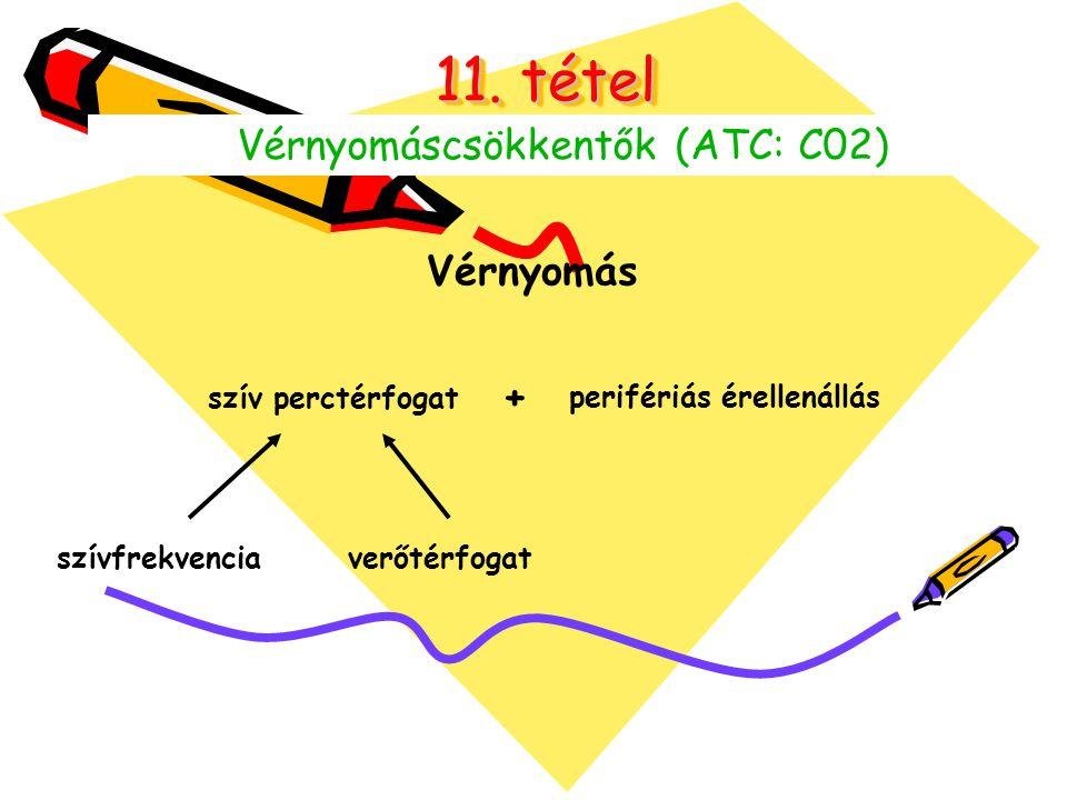 11. tétel Vérnyomáscsökkentők (ATC: C02) Vérnyomás szív perctérfogat + perifériás érellenállás szívfrekvencia verőtérfogat