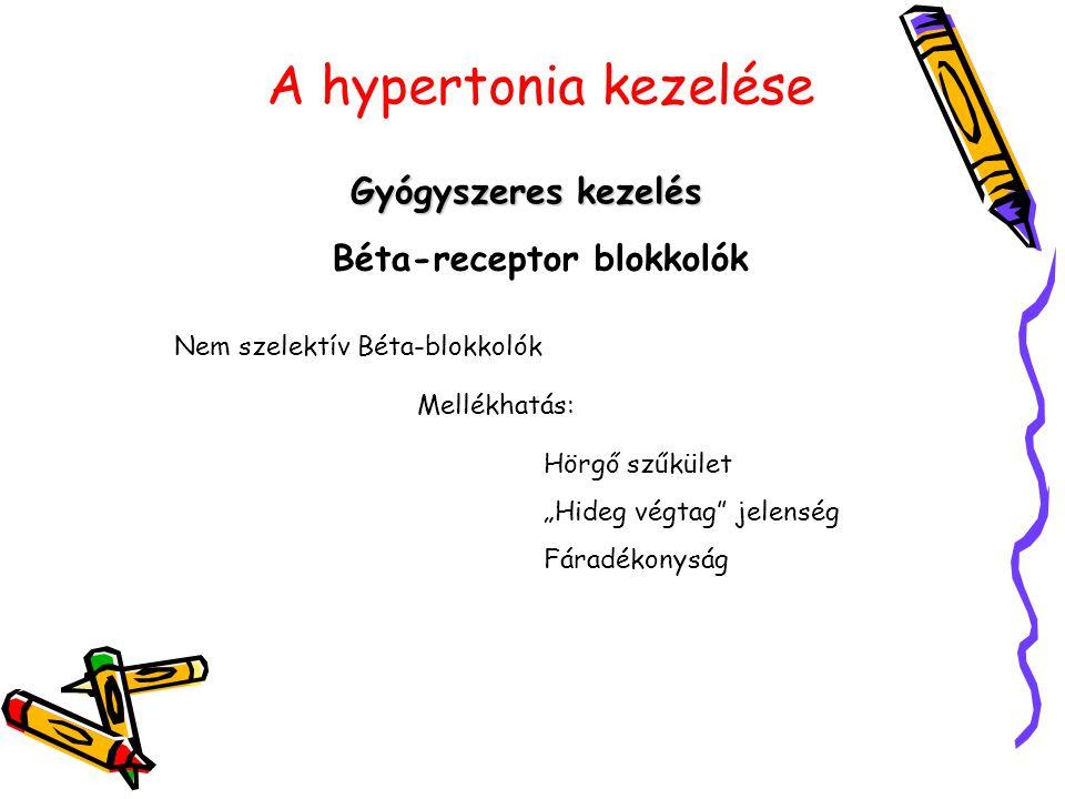 """A hypertonia kezelése Gyógyszeres kezelés Béta-receptor blokkolók Nem szelektív Béta-blokkolók Mellékhatás: Hörgő szűkület """"Hideg végtag"""" jelenség Fár"""