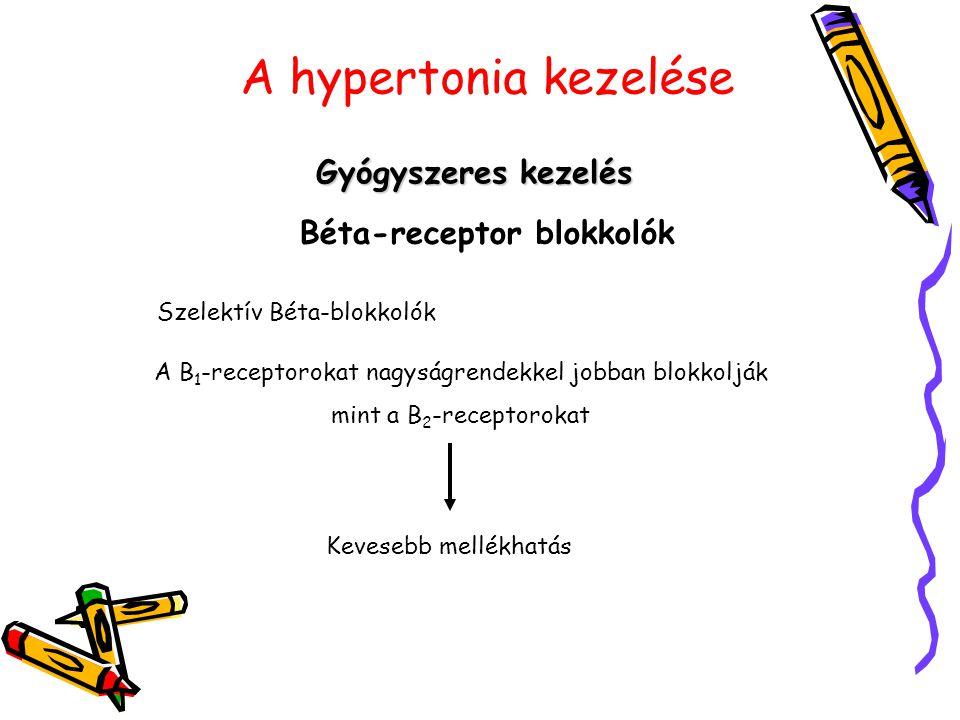 A hypertonia kezelése Gyógyszeres kezelés Béta-receptor blokkolók Szelektív Béta-blokkolók A B 1 -receptorokat nagyságrendekkel jobban blokkolják mint