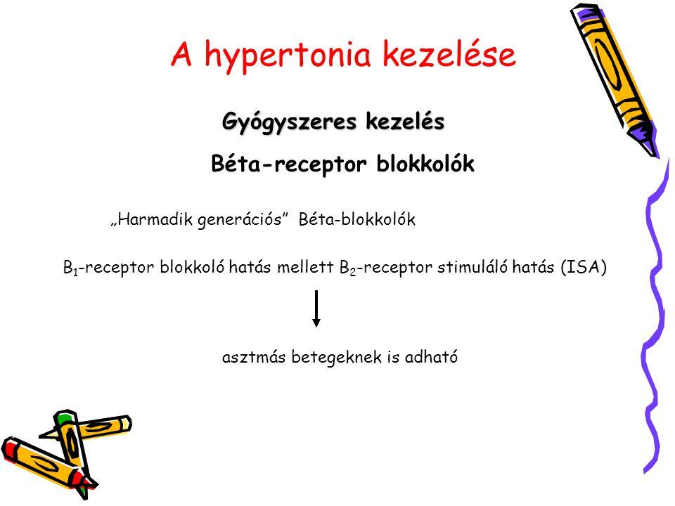 """A hypertonia kezelése Gyógyszeres kezelés Béta-receptor blokkolók """"Harmadik generációs"""" Béta-blokkolók B 1 -receptor blokkoló hatás mellett B 2 -recep"""
