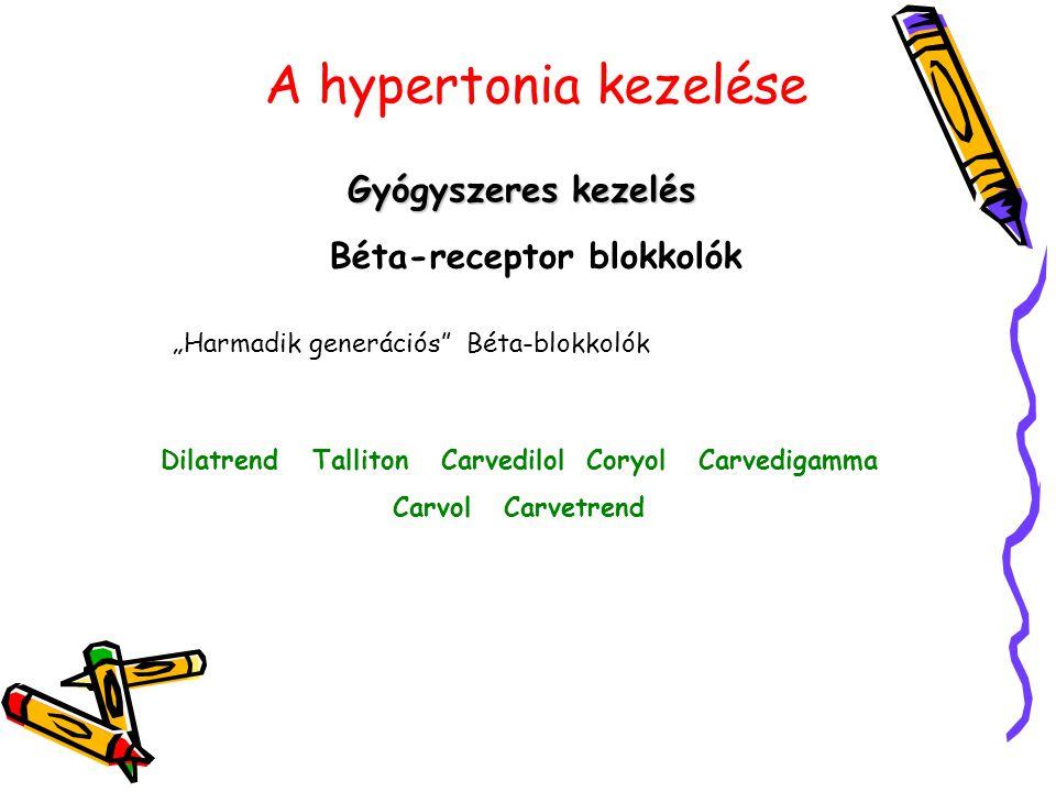 """A hypertonia kezelése Gyógyszeres kezelés Béta-receptor blokkolók """"Harmadik generációs"""" Béta-blokkolók Dilatrend Talliton Carvedilol Coryol Carvedigam"""