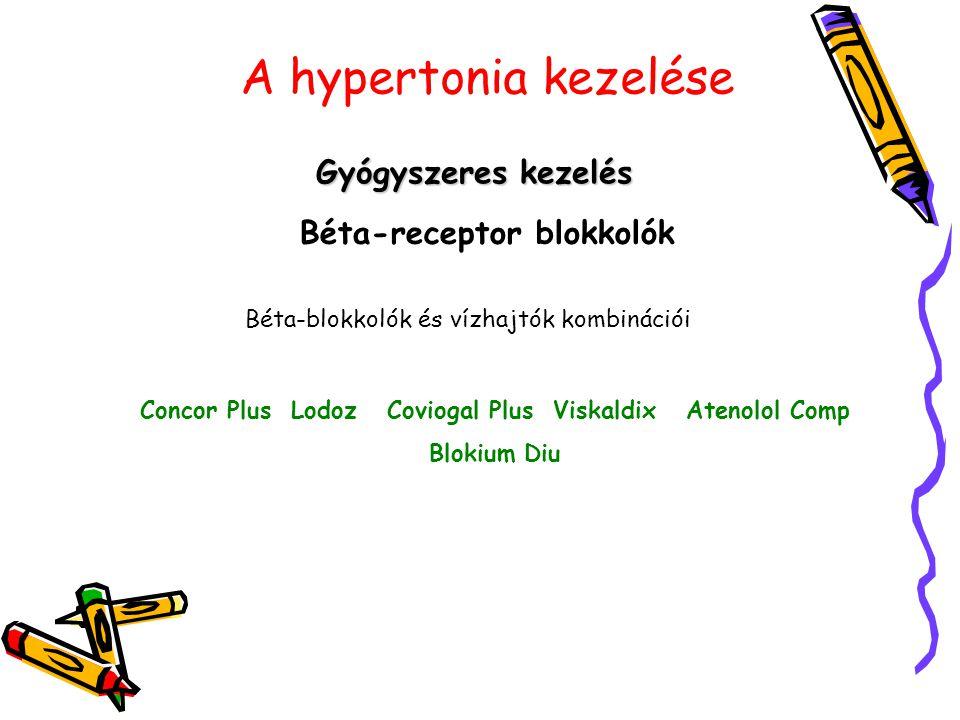 A hypertonia kezelése Gyógyszeres kezelés Béta-receptor blokkolók Béta-blokkolók és vízhajtók kombinációi Concor Plus Lodoz Coviogal Plus Viskaldix At