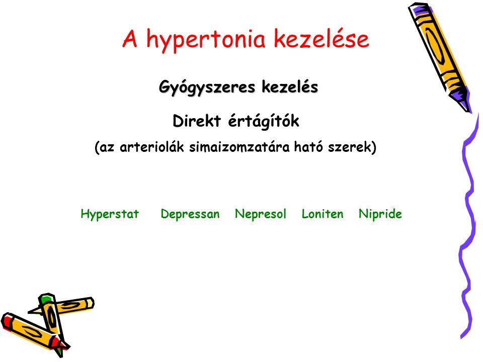 A hypertonia kezelése Gyógyszeres kezelés Direkt értágítók (az arteriolák simaizomzatára ható szerek) Hyperstat Depressan Nepresol Loniten Nipride