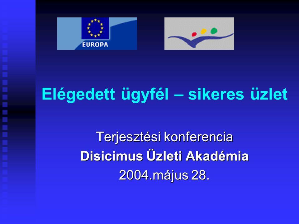 Elégedett ügyfél – sikeres üzlet Terjesztési konferencia Disicimus Üzleti Akadémia 2004.május 28.
