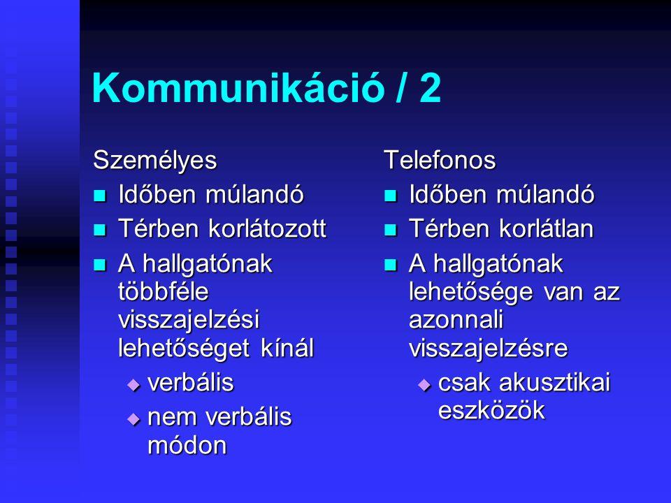 Kommunikáció /1 Személyes Totális benyomás Totális benyomás Akusztikai Akusztikai Vizuális Vizuális Szaglás Szaglás Tapintás Tapintás térérzékelés tér