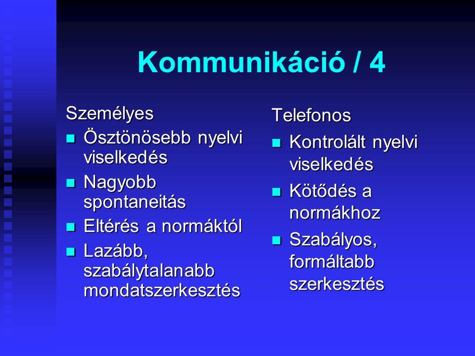 Kommunikáció / 4 Személyes Ösztönösebb nyelvi viselkedés Ösztönösebb nyelvi viselkedés Nagyobb spontaneitás Nagyobb spontaneitás Eltérés a normáktól Eltérés a normáktól Lazább, szabálytalanabb mondatszerkesztés Lazább, szabálytalanabb mondatszerkesztés Telefonos Kontrolált nyelvi viselkedés Kötődés a normákhoz Szabályos, formáltabb szerkesztés