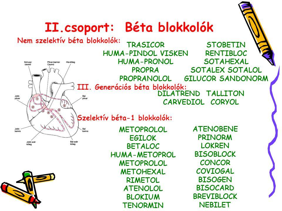 II.csoport: Béta blokkolók Nem szelektív béta blokkolók: TRASICOR HUMA-PINDOL VISKEN HUMA-PRONOL PROPRA PROPRANOLOL STOBETIN RENTIBLOC SOTAHEXAL SOTALEX SOTALOL GILUCOR SANDONORM Szelektív béta-1 blokkolók: METOPROLOL EGILOK BETALOC HUMA-METOPROL METOPROLOL METOHEXAL RIMETOL ATENOLOL BLOKIUM TENORMIN ATENOBENE PRINORM LOKREN BISOBLOCK CONCOR COVIOGAL BISOGEN BISOCARD BREVIBLOCK NEBILET III.