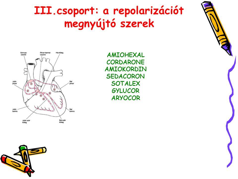 III.csoport: a repolarizációt megnyújtó szerek AMIOHEXAL CORDARONE AMIOKORDIN SEDACORON SOTALEX GYLUCOR ARYOCOR
