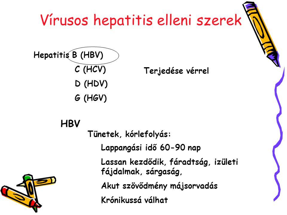 Vírusos hepatitis elleni szerek Hepatitis B (HBV) C (HCV) D (HDV) G (HGV) Terjedése vérrel HBV Tünetek, kórlefolyás: Lappangási idő 60-90 nap Lassan kezdődik, fáradtság, izületi fájdalmak, sárgaság, Akut szövődmény májsorvadás Krónikussá válhat