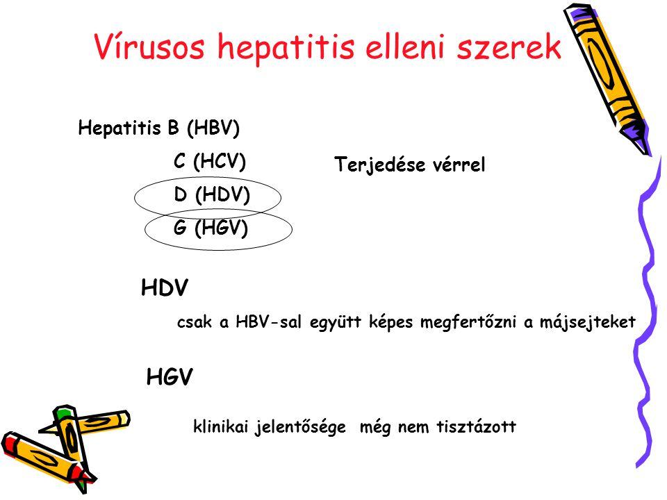 Vírusos hepatitis elleni szerek Hepatitis B (HBV) C (HCV) D (HDV) G (HGV) Terjedése vérrel HDV csak a HBV-sal együtt képes megfertőzni a májsejteket HGV klinikai jelentősége még nem tisztázott