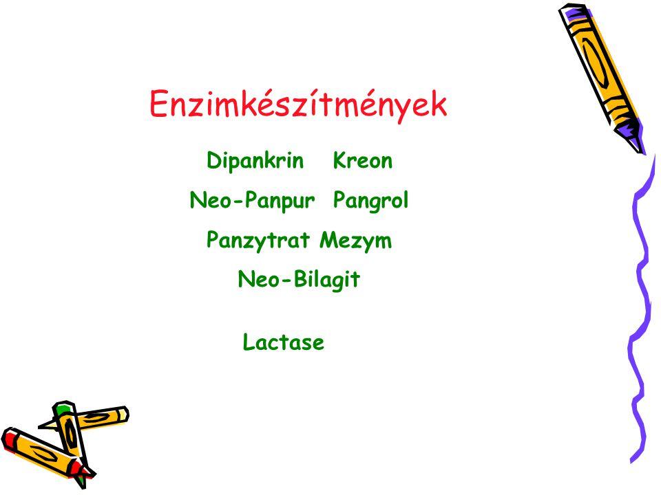 Enzimkészítmények Dipankrin Kreon Neo-Panpur Pangrol Panzytrat Mezym Neo-Bilagit Lactase