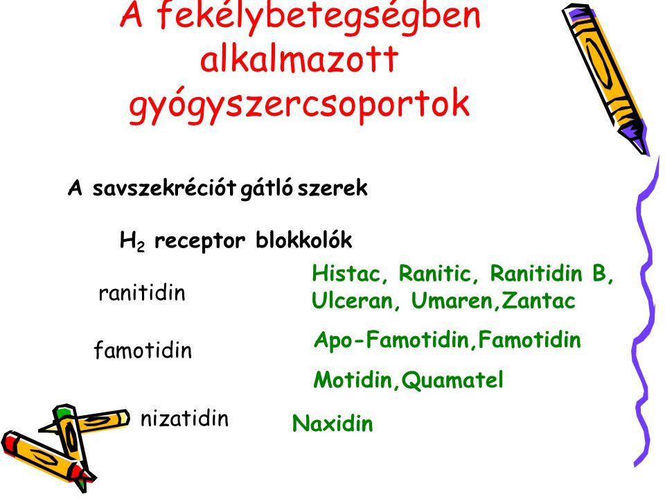 A fekélybetegségben alkalmazott gyógyszercsoportok A savszekréciót gátló szerek H 2 receptor blokkolók ranitidin Histac, Ranitic, Ranitidin B, Ulceran