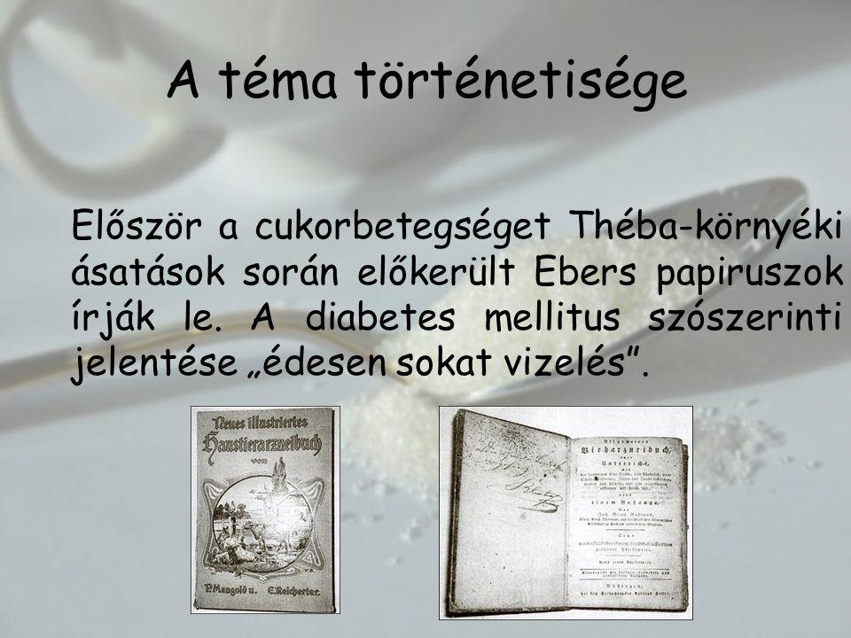 A téma történetisége Először a cukorbetegséget Théba-környéki ásatások során előkerült Ebers papiruszok írják le.